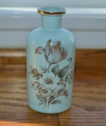 Vintage Perfume Apothecary Glass Bottle Light Blue With Flowers T.c.w. Co S-57-2