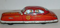 Vintage 1950's Marx Tin Friction Toy Fire Chief Department Car Car 1