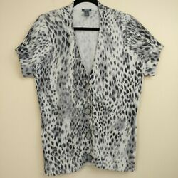 Kenneth Cole Reaction Womens Cardigan Gray Cheetah Short Sleeve Buttons Sz L