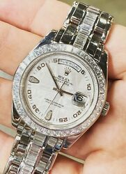 Rolex President Special Platinum Masterpiece Meteorite Dial Baguettes Band 18956