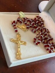 Vatican Gift Absolute Red - Gold Plated Rosary