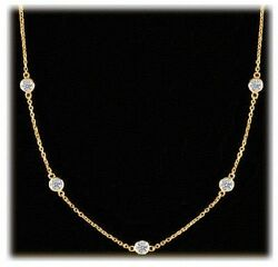 1.04 Ct Round Diamond By The Yard 18k Yellow Gold Necklace 7 X 0.15 F-g Vs/si1