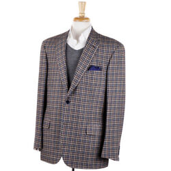 Nwt 6095 Brioni Brown And Sky Blue Check Cashmere Sport Coat 44 R 'colosseo'