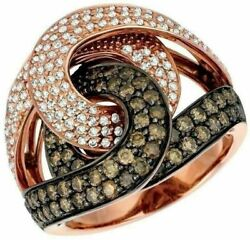 Estate Large 2.03ct White And Chocolate Fancy Diamond 14k Rose Gold Multi Row Ring