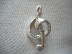 Sterling Silver Treble Clef Pin Brooch Re51