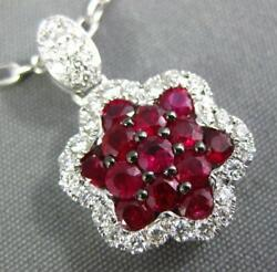 Estate 1.07ct Diamond And Aaa Ruby 18kt White Gold Classic Cluster Flower Pendant
