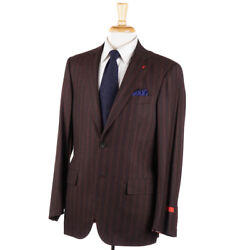 Nwt 3995 Isaia Brown Stripe And039extra Light Flanneland039 Wool-silk Suit 40 R Base S