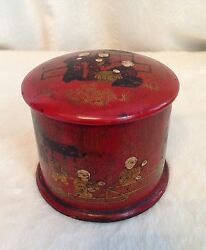 Antique 1870and039s Chinese Orange Red Lacquered Wooden Tea Caddy Box