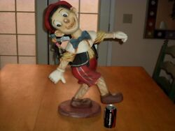 Disney- Pinocchio With Jiminy Cricket, Resin 26 Tall Store Display Statue, Vint