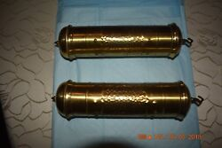 Antique/vintage Grandfather Clock Weights With Inserts Set Of 2 Nos For Project