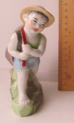 Boy With Fish Chinese Porcelain Figurine Figure Old China