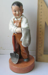 Boy With Spade Chinese Porcelain Figurine Sculpture China