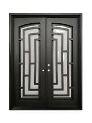 Belton Double Front Entry Wrought Iron Door Frost Glass 72
