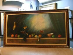 Antique Oil Painting On Canvas Still Life Fruit Framed Signed Wells 53 X 29