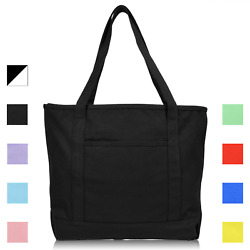 DALIX 20quot; Solid Color Cotton Canvas Shopping Tote Bag Exclusive Edition $13.95