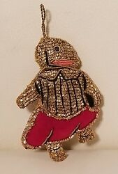Vintage Unique Unusual Christmas Ornament Anthropomorphic Wire Mesh Beaded Old