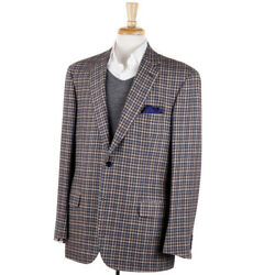 Nwt 6095 Brioni Brown And Sky Blue Check Cashmere Sport Coat 46 R 'colosseo'