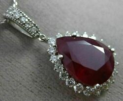 Estate Large 11.14ct Diamond And Aaa Ruby 14kt White Gold Pear Shape Pendant 25811