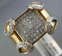 Estate Large 1.93ct Round And Princess Diamond 14kt Rose Gold Invisible Mens Ring