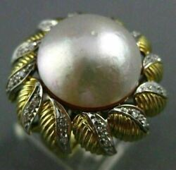 Antique Massive .35ct Diamond 18k Two Tone Gold Aaa Mabe Pearl Flower Ring 25403