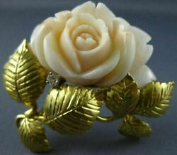 Antique Large .15ct Diamond And Aaa Coral 18kt Yellow Gold Flower Pin Brooch 2470