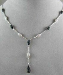 Antique 2.13ctw Aaa Sapphire And Diamonds Drop 14kt White Gold Necklace Beautiful