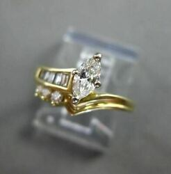 Antique .46ct Diamond 14kt Wandy Gold Marquise And Round Engagement Ring 20196