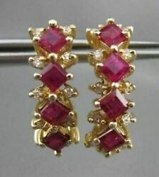 Estate 1.55ct Diamond And Aaa Ruby 14kt Yellow Gold Umbrella Hanging Earrings