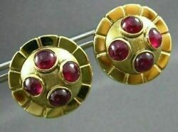 Antique Large 2.50ct Aaa Round Ruby 18kt Yellow Gold Cabochon Earrings 19166