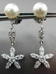 Antique .80ct Diamond 14k White Gold And Pearl Flower Star Hanging Earrings 23357
