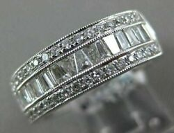 .75ct Round And Baguette Diamond 18kt White Gold 3d Semi Eternity Anniversary Ring