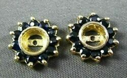Antique .48ct Aaa Round Sapphire 14kt Yellow Gold Earring Jackets 11mm 20877