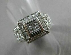 Estate Large .80ct Diamond 18kt White Gold Invisible Square Cocktail Ring 21139