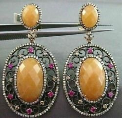 Antique Large 3.12ct Diamond And Multi Gem 14k Rose And Black Gold Filigree Earrings