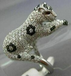 Massive 2.96ct White And Black Diamond And Ruby 18kt White Gold 3d Happy Tiger Ring