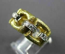 Antique Wide .36ct Old Mine Diamond 18kt Two Tone Gold Open Eternity Ring 17195