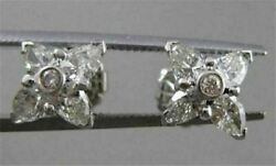 Antique 1.13ct Diamond Pear Cluster 14k White Gold Earrings Pear And Rounds 17126