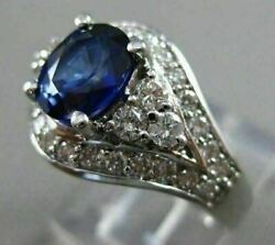 Antique Wide 2.19ct Diamond And Aaa Sapphire 14k White Gold Engagement Ring 18361