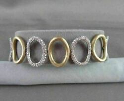 Antique 2.73ctw Wide 14kt Diamond Link Circular White And Yellow Gold Bracelet