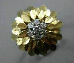 Antique .26ct Round Diamond 14kt White And Yellow Gold 3d Handcrafted Flower Ring