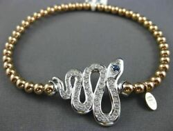 Estate Large 1.13ct Diamond And Aaa Sapphire 14kt White And Rose Gold Snake Bracelet