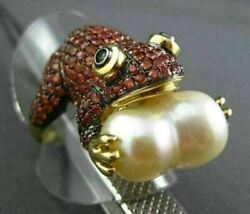 Antique Large 3.79ct Aaa Gemstone And South Sea Pearl 18kt Yellow Gold Frog Ring