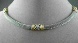 Estate Wide And Long 14kt White And Yellow Gold Mesh Screw Necklace Unique 22677