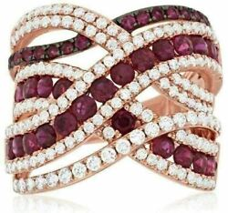 Estate Wide 3.20ct Diamond And Aaa Ruby 14kt Rose Gold Multi Row Anniversary Ring