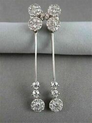 Antique Long 1.77ct Round Diamond 14kt Gold Drop Hanging Earrings One Of A Kind