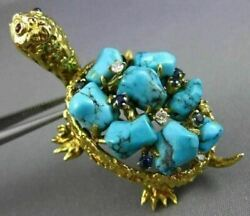 Estate Wide 45.4ct Diamond And Turquoise 14k Yellow Gold Happy Turtle Pin Brooch