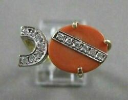 Antique Old Mine Cut Diamond And Coral 14kt White Yellow Gold Cocktail Ring 20216