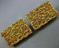 Estate Extra Large 18k Yellow Gold Rectangular Nugget Handcrafted Mens Cufflinks