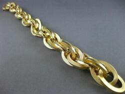 Estate Large And Long 18k Yellow Gold 3d Oval Intertwining Link Bracelet 26106