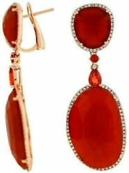 Estate .72ct Diamond And Aaa Red Agate And Sapphire 14kt Rose Gold Hanging Earrings